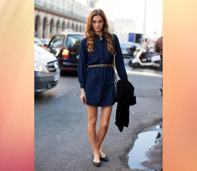 Короткие джинсовые платья с длинным рукавом