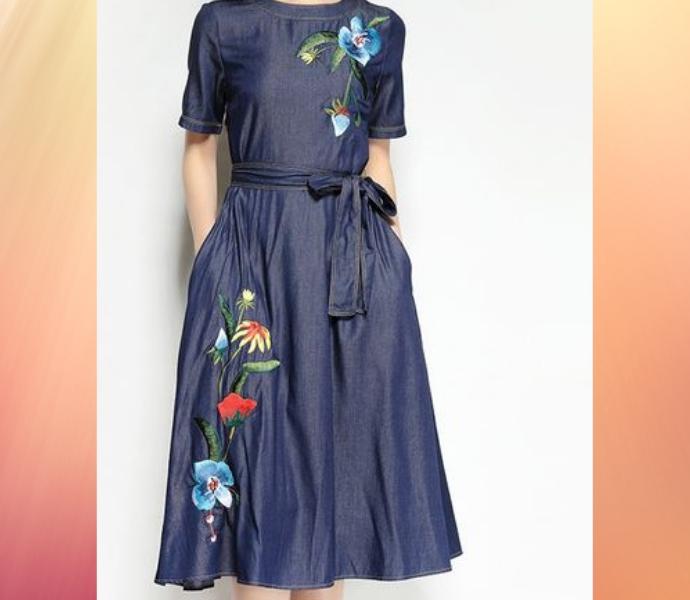 Комбинированные джинсовые платья