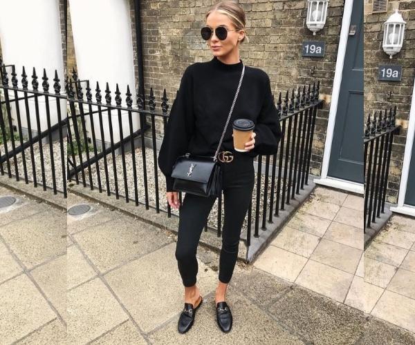 Чёрные джинсы с объёмным свитером