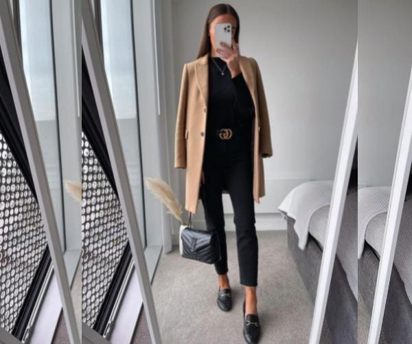чёрные джинсы с пальто